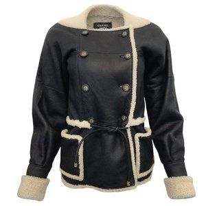 Chanel Navy Blue Shearling with Tie Waist Jacket